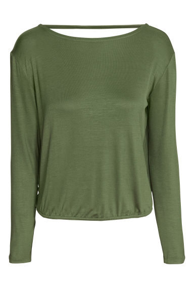 Backless top - Khaki green - Ladies | H&M CN
