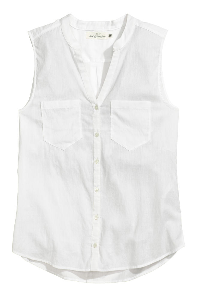 8788a83460c645 Sleeveless cotton blouse - White - Ladies