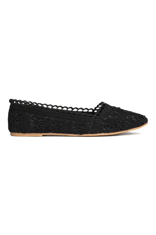 264c07e8 Bailarinas de encaje - Negro - | H&M ...