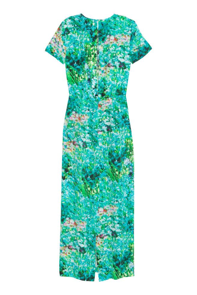 8ab50b90648d ... Dlhé hodvábne šaty - tyrkysová vzorovaná - ŽENY