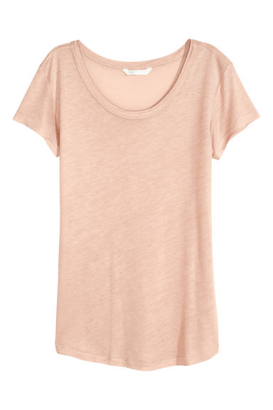 Lyocell jersey top - Powder beige - Ladies | H&M GB