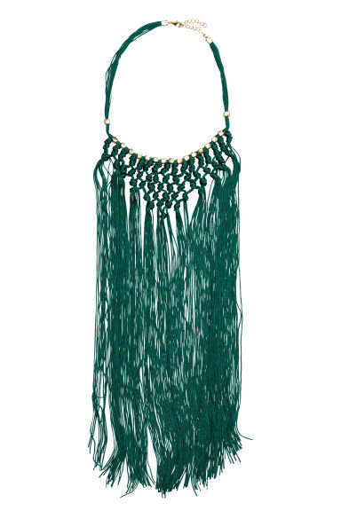 Fringed necklace - Gold/Dark green -  | H&M CN