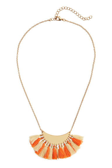 Short necklace with a pendant - Orange/Natural white - Ladies | H&M GB