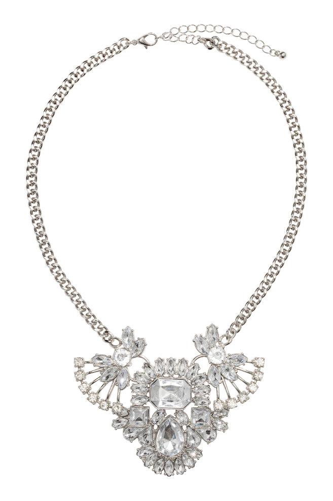 3340e5edf Náhrdelník s přívěskem - Stříbrná/sleněný drahokam - | H&M ...