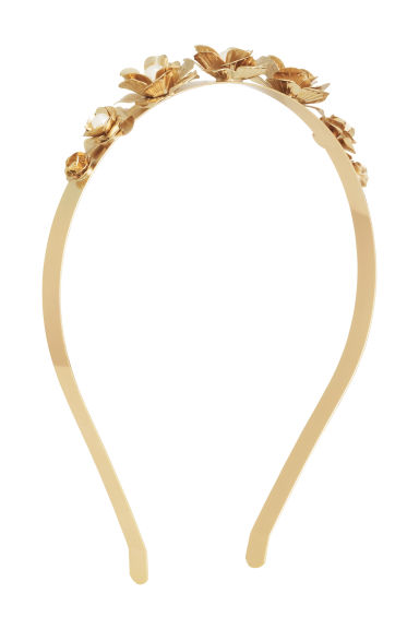 Alice band with flowers - Gold - Ladies | H&M GB