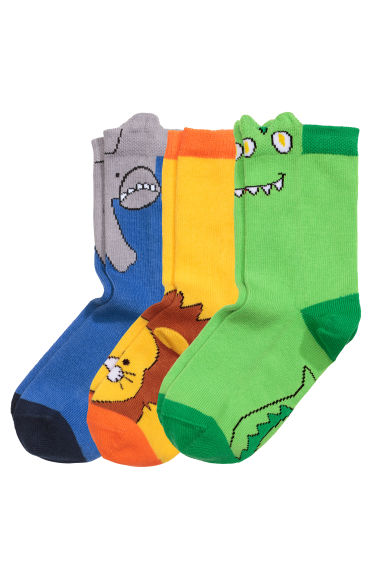 3-pack socks - Yellow/Animal - Kids | H&M GB
