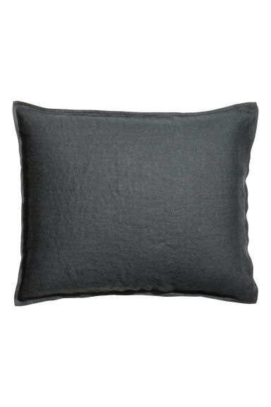 Washed linen pillowcase - Anthracite grey - Home All | H&M CN