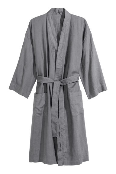 Washed Linen Bathrobe - Dark gray - Home All | H&M US