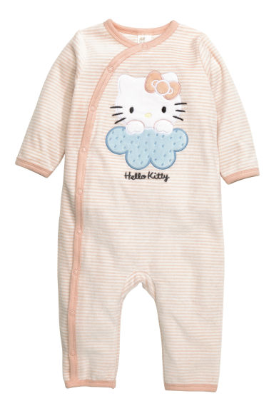 Velour all-in-one pyjamas - Powder pink/Hello Kitty - Kids | H&M