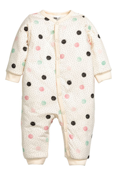 Padded all-in-one pyjamas - Nat. white/Spotted - Kids | H&M