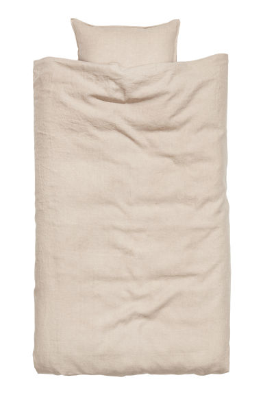 Washed Linen Duvet Cover Set - Linen beige - Home All | H&M US