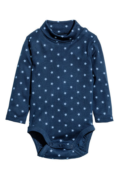 Polo-neck bodysuit - Dark blue/Stars - Kids | H&M