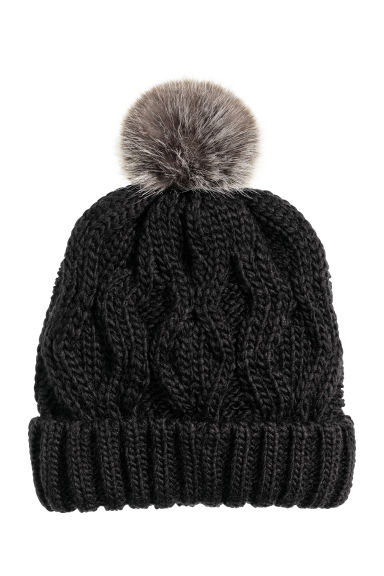Cable-knit hat - Black - Ladies | H&M CN