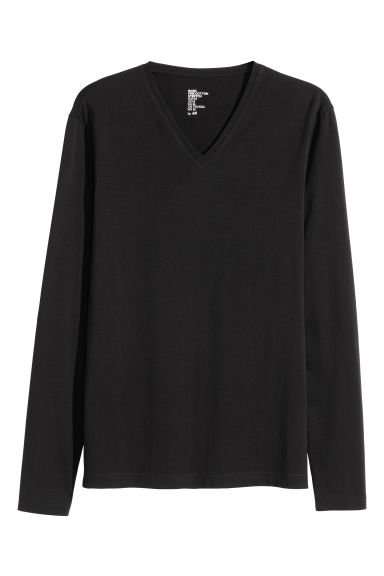 Long-sleeved T-shirt Slim fit - Black - Men | H&M CN