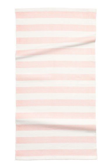 Striped cotton rug - Light pink - Home All | H&M GB
