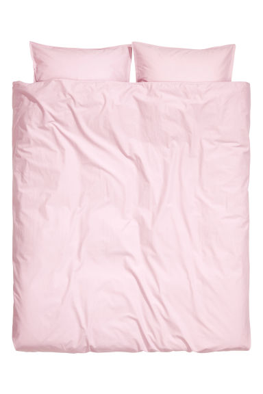 Washed cotton duvet cover set - Light pink -  | H&M IE
