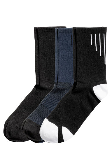 3-pack Sports Socks - Black/Dark blue - Men | H&M US