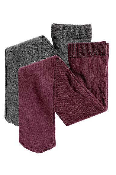 2-pack tights - Burgundy - Kids | H&M