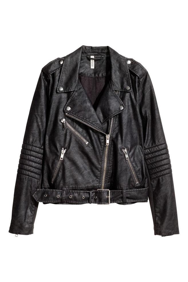 77379b00fb4092 ... Kurtka w stylu motocyklowym - Czarny/Struktura - | H&M ...