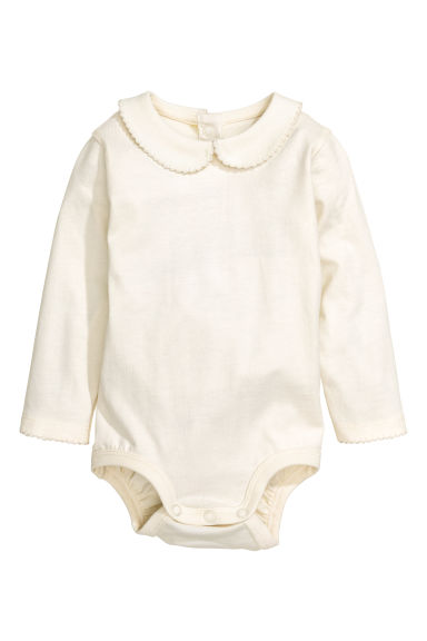 Bodysuit with a collar - Natural white - Kids | H&M GB