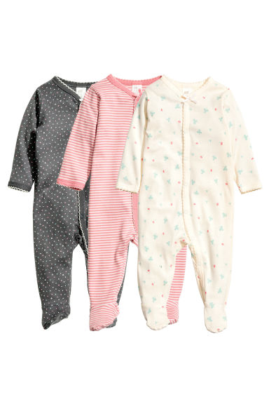 3-pack all-in-one pyjamas - Pink/Striped - Kids | H&M