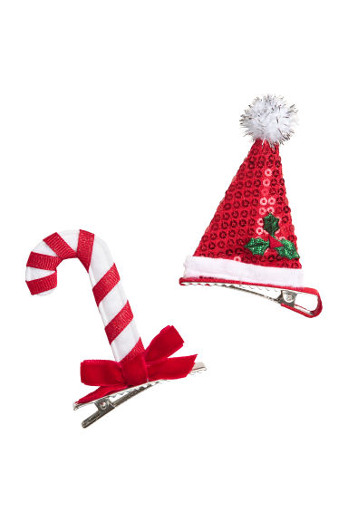 2-pack Christmas hair clips - Red/White - Ladies | H&M