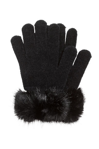 Chenille gloves - Black - Ladies | H&M