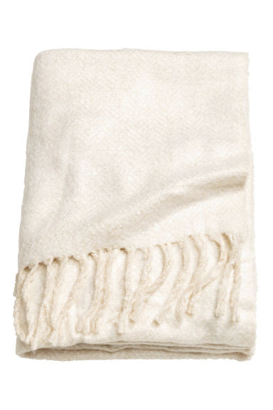 Herringbone-patterned blanket - Natural white - Home All | H&M GB