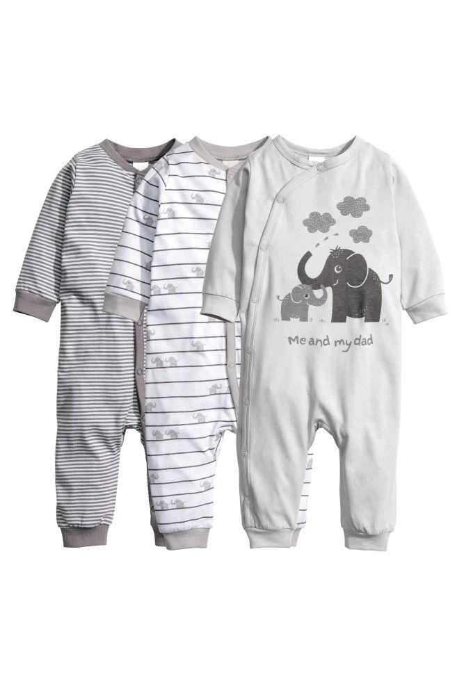 bd2695d976 3-pack all-in-one pyjamas - Grey Elephants - Kids