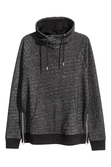 Funnel-collar sweatshirt - Black marl - Men | H&M