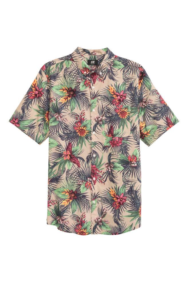 Bloemen Overhemd.Overhemd Met Korte Mouwen Beige Bloemen Heren H M Nl