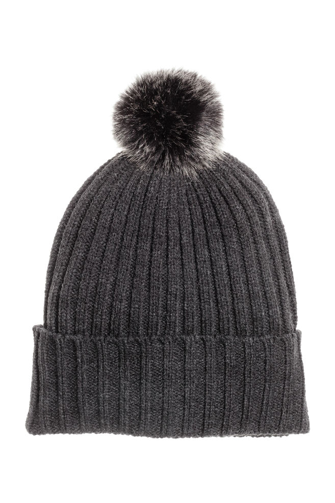 Pompom hat - Dark grey - Ladies  83055dec722