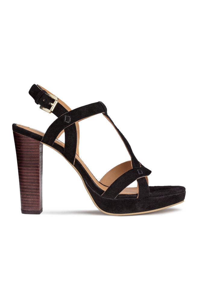 5e83622380 Suede platform sandals - Black - Ladies | H&M ...