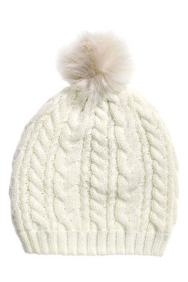 Cable-knit hat - Natural white -  | H&M CA