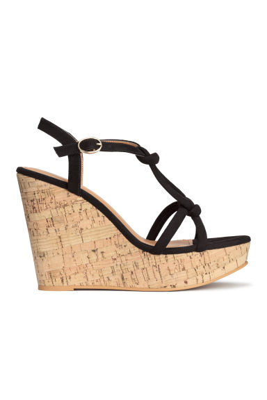 Wedge-heel sandals - Black - Ladies | H&M GB