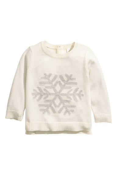 Fine-knit jumper - Natural white/Snowflake - Kids | H&M IE