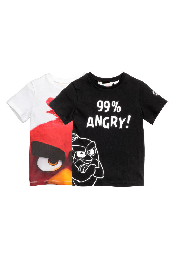 219faab87c 2-pack T-shirts - Black/Angry Birds - Kids | H&M ...