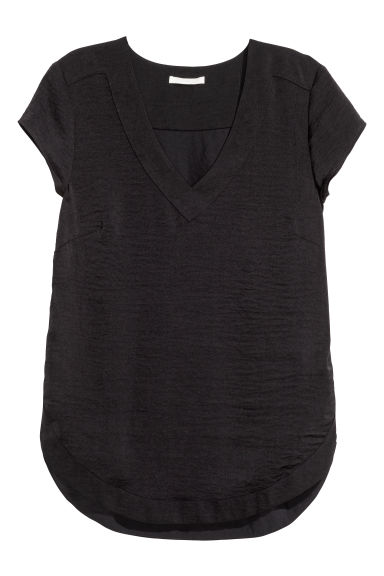 Top in satin scollo a V - Nero - DONNA | H&M IT
