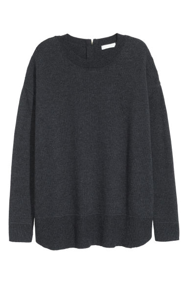 Fine-knit jumper - Dark grey marl - Ladies | H&M GB