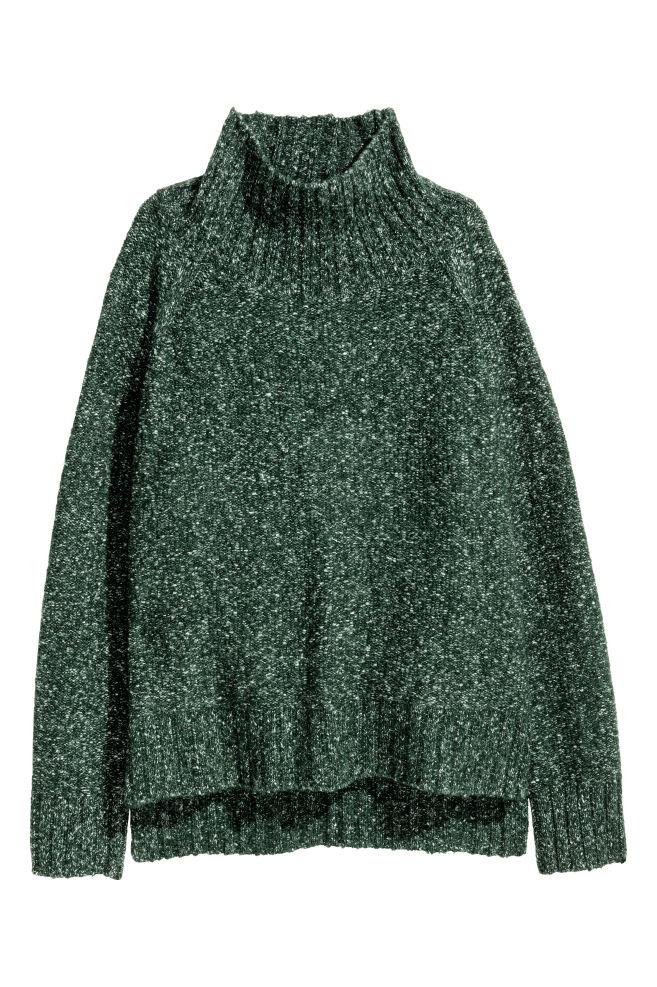 вязаный свитер темно зеленый меланж женщины Hm Ru