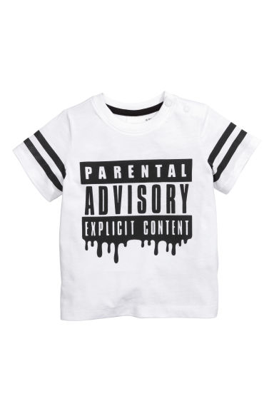图案T恤 - 白色/Parental Advisory - Kids | H&M CN