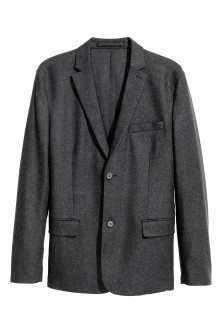 Grauer Wollmix-Blazer Slim Fit