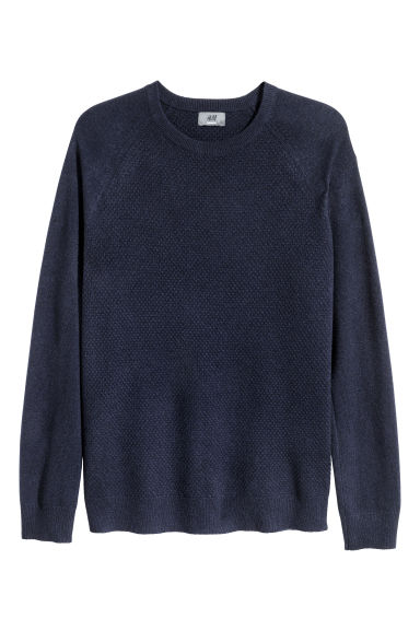 Textured-knit cashmere jumper - Dark blue - Men | H&M