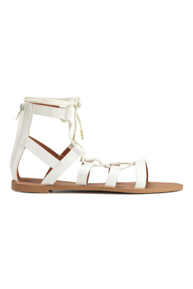 Sandals with lacing - White - Ladies | H&M