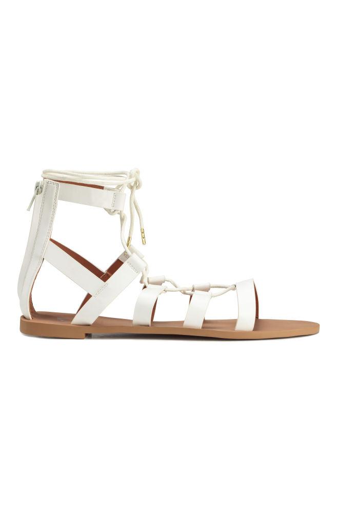 75931e6b4fb0 Sandále so šnurovaním - biela - ŽENY