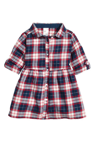 Shirt dress - Dark blue/Checked -  | H&M CN