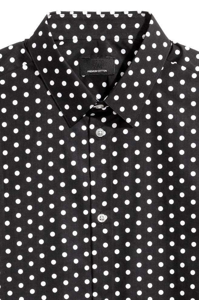 Zwart Overhemd Met Witte Stippen.Overhemd Van Premium Cotton Zwart Wit Stippen Heren H M Nl