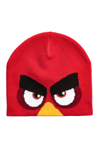 Jacquardgebreide muts - Rood/Angry Birds - KINDEREN | H&M NL