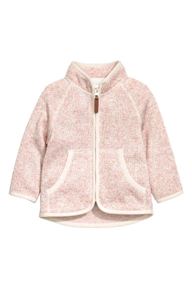 Knitted fleece jacket - Powder pink marl -  | H&M CN