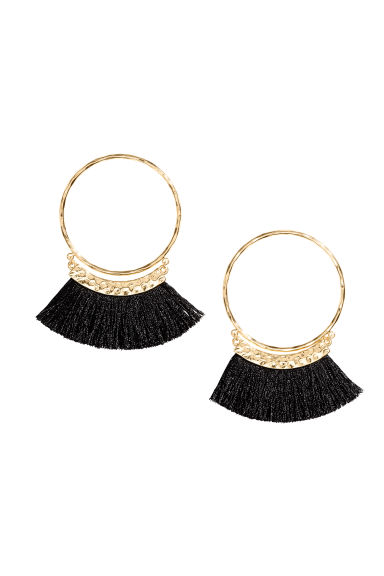 Earrings with fringes - Black/Gold - Ladies | H&M GB